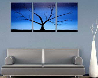 """Original acrylic paintings on canvas abstract triptych landscape tree of life painting large wall art Modern 20 x 48 """""""