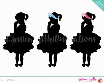 Instant Download Girl in tutu Silhouette Cute Digital Clipart, Cute Girl silhouette, girl Clip art, Little Girl Graphic, Illustration, #1084