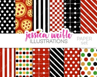 Italian Chef Kids Cute Digital Papers Backgrounds for Invitations, Card Design, Scrapbooking, and Web Design