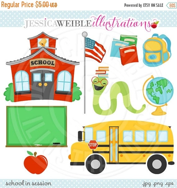 SALE School in Session Cute Digital Clipart - Commercial Use OK - School House Graphics - School Bus Clipart