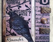 The Way Of The Crow   ACEO Artist Trading Card Alteredhead On Etsy Artwork ATC Original Handmade Design On Etsy Artwork