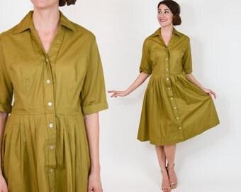 50s Cotton Dress | Tan Khaki Shirt Dress | Pleated Day Dress, Medium