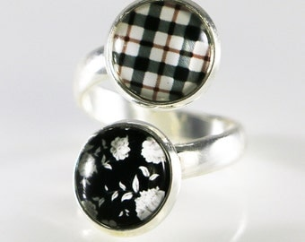 Tile Glass Ring, Floral & Plaid Pattern, Wrap Ring, Adjustable