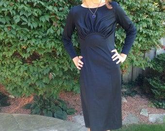 vintage 70s black dress /film noir /40s  inspired/ dame/femme fetale/party /size med