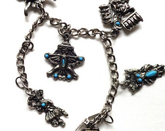 """7"""" Native American Charm Bracelet Costume Jewelry Turquoise FREE Shipping Souvenir"""