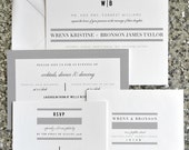 Bailey Wedding Invitation Suite with Stripes + Belly Band - White and Black (text + colors are customizable)