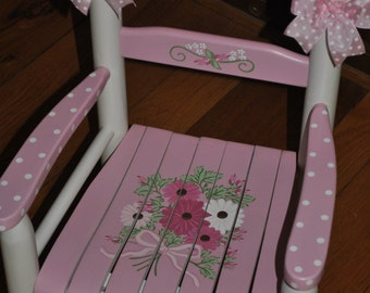 pink floral bouquet rocking chair rocker girls kids rocking chair childrens rocking