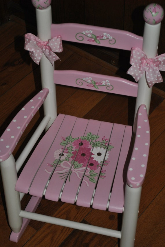 Pink Floral Bouquet Rocking Chair Rocker Girls Kids
