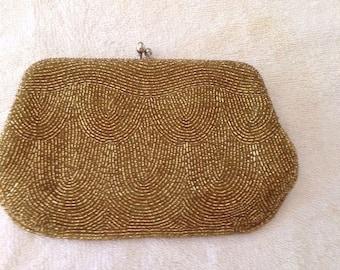 Vintage Gold Beaded Evening Bag Clutch Purse