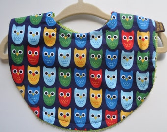 Baby Boy / Infant / Toddler Terry Cloth Bib in Navy Red Green Owls