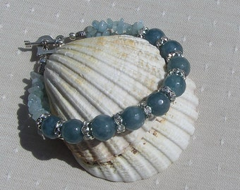 "Aquamarine Crystal Gemstone Bracelet ""Blue Breeze"", Blue Bracelet, Chakra Bracelet, Libra Jewelry, Scorpio Bracelet, Courage Bracelet"