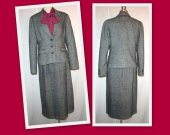 1970s Wool Blend Vintage Skirt Suit