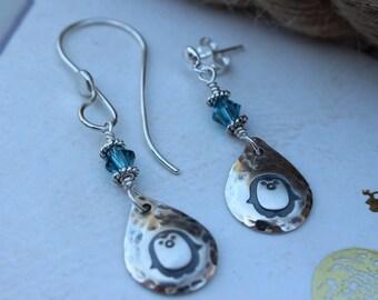 Penguin earrings, sterling silver penguin earrings