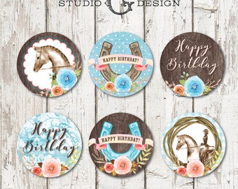Equestrian Cupcake Toppers  --  Cowgirl Birthday Party  -- Instant Download Printable PDF File