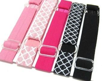 Set of 5 - Pink & Black, Preppy, Neopolitan, Adjustable Elastic Headband, Hair Band, Baby Headband, Adult Headband, Teen,  Sport Headband