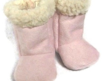 Baby Girl Boots, Pink Suede with Sherpa / Pink Sherpa Girl Boots / Infant Boots / Toddler Boots