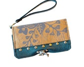 "Leather Printed Floral Clutch Wallet Wristlet In Turquoise and Tan ""Berlin Clutch"" Ready to Ship"