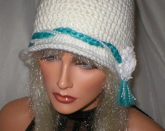 25% OFF SALE Crochet Women Soft White Teal Tulle Braided Band 1920's Cloche Flapper Hat