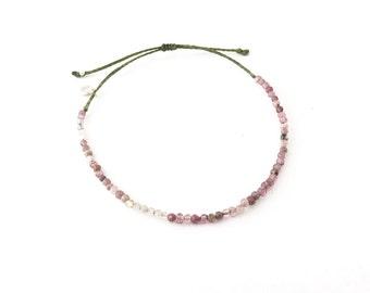 Pink Tourmaline Bead Bracelet, beach bracelet, boho adjustable bracelet, delicate bracelet, braided bracelet, october birthstone bracelet