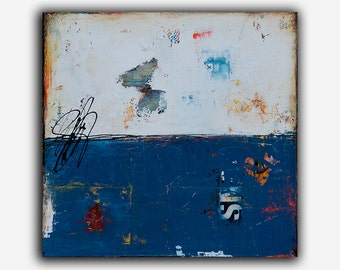 Acrylic Mixed media Painting Abstract blue landscape art 24X24 CANVAS