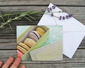 "Paris Photo Notecard - ""Ladurée Macarons"" - Single Folded Card with Envelope, Blank Inside"