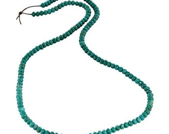 FOX TURQUOISE Beads Rondelles  4mm Teal NewWorldGems