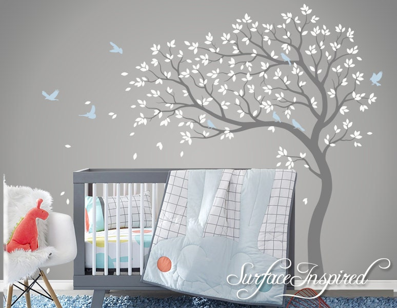 Tree wall decal nursery large tree wall decal by for Baby nursery tree mural