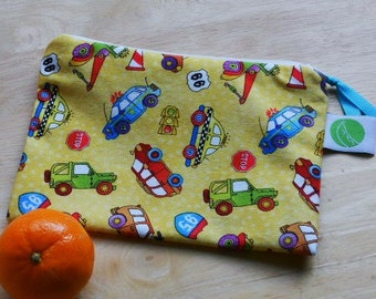 "Zippered Reusable Snack Sack, Retro Style Fabric, Half Size - 7.5"" x 5""-  EcoFriendly, Machine Washable"