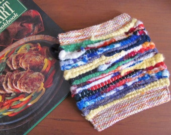 Rustic Country Farmhouse Decor Kitchen Wool Pot Holder, Fiesta Rainbow Mountain Cabin Home Decor Wool Woven Hot Pad, Chef Cooking Mom Gift
