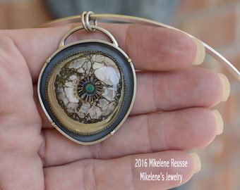 Terra  .... sterling silver statement PENDANT/Focal piece contemporary METALSMITH Artisan jewelry by Mikelene