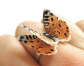 3D Butterfly Cheetah Ring - Cheetah Print Accessory - Cheetah Costume Womens Silver Animal Print Jewelry - African Ring - Ethnic Ring