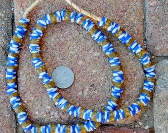 Krobo Beads: Blue/White/Gold 10x15mm
