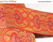 """ON SALE 10% off 1 yard Rust Orange Red Gold JACQUARD Brocade woven sewing craft ribbon Trim 2.25"""" wide"""