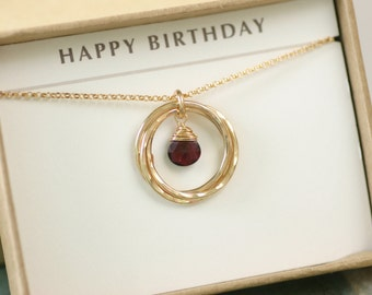 30th birthday gift for sister necklace, garnet necklace gold, January birthstone jewelry for her - Lilia
