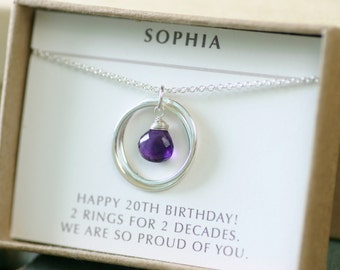 20th birthday gift for daughter, amethyst necklace for 2 year anniversary gift, Valentines gift - Lilia