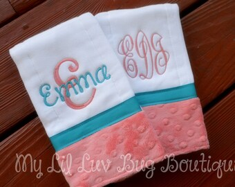 Personalized Burp cloths - set of two prefold diaper- coral and blue turquoise