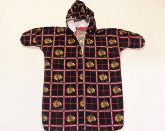 NHL CHICAGO BLACKHAWKS  Printed  flannel Baby Bunting Coat Newborn to 6 months