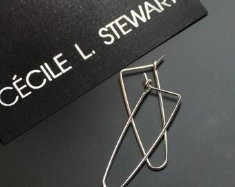 STERLING SILVER HOOP earrings triangular sleeper ear wire minimal modern simple contemporary interchangeable jewellery nickel free No.00E168
