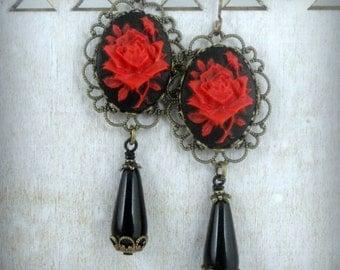 Rose Earrings Cameo Earrings Victorian Earrings Victorian Jewelry Red Rose Jewelry Romantic Earrings Gothic Earrings Gothic Jewelry