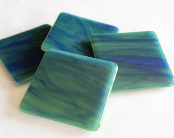 GLASS DRINK COASTERS-Blue Green Watercolor Coasters Fused Glass, Under 25, Wedding Gift, fused Glass Coasters, Blue Green Glass Decor