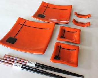 GLASS SUSHI SET - Deep Orange Dishes with Chopsticks, Under 75, Japanese Dishes, Wedding Anniversary Gift, Sushi Dishes, Minimalist Style
