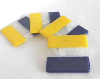 SPORTS TEAM COASTERS - Blue Gold Fused Glass Drink Coaster, Glass Coaster Set, Football Fan Gift, Under 25, Man Cave Gift, Glass Barware