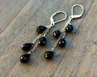 Black Onyx Cascade Earrings.  Sterling, Gold, Rose Gold.