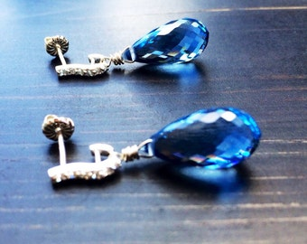 London Blue Topaz Pave Earrings in sterling silver