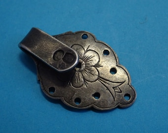 antique SILVER clip // connector pendant // around 1850 // flowers