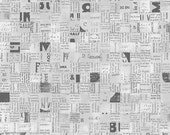 Newspaper Print Squares Fabric - Poster Block from Stof Fabrics - Full or Half Yard Gray and Charcoal Newsprint