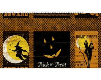 "Halloween Panel - Jeepers Creepers from Clothworks - 24"" x 44"" Panel Haunted House, Witch Flying Full Moon, Jack-o-Lantern"