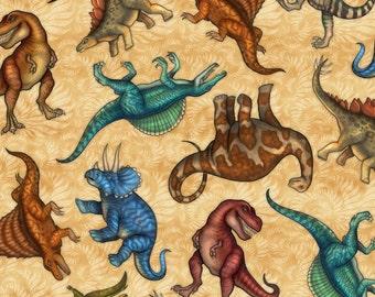 Dinosaurs on Gold - Jurassic Jungle by Dan Morris for Quilting Treasures - Full or Half Yard Tyrannosaurus Rex, Brontosaurus, Stegosaurus