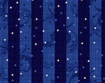 Navy July 4th Star Stripe - Patriotic Primer for Henry Glass Fabrics - Full or Half Yard Navy Star Stripe