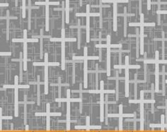 Silver Gray Crosses - Faith Crosses from Windham Fabrics - Full or Half Yard Crosses in Gray